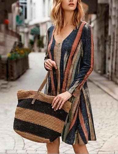 abordables Robes Femme-Femme Mi-long Tee Shirt Robe Rayé Marron S M L Manches Longues
