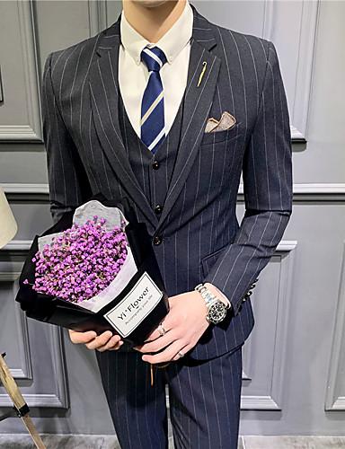 Siyah / Açık Gri / Koyu Mavi Çizgili Standart Kalıp Polyester Takım elbise - Çentik Tek Sıra Düğmeli Bir Düğme