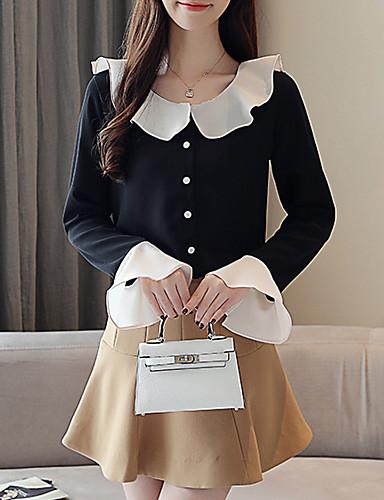 Kadın's Gömlek Yaka Gömlek Fırfırlı / Kırk Yama, Solid Temel Siyah