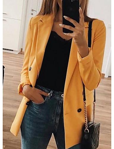 billige Nyt efterårstøj-Dame Blazer, Ensfarvet V-hals Polyester Sort / Lyserød / Gul XXXL / XXXXL / XXXXXL