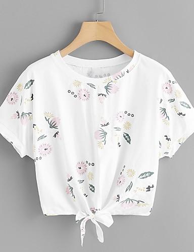 Kadın's Tişört Desen, Çiçekli Boho / Zarif Beyaz