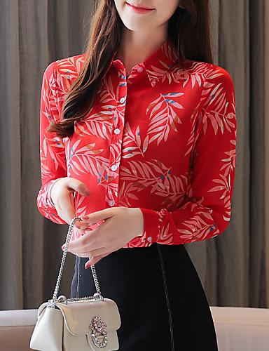 billige Dametopper-Skjorte Dame - Grafisk, Trykt mønster Vintage Tropisk blad Rød