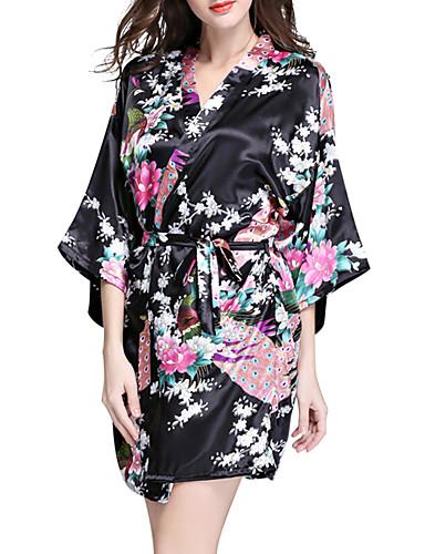 Mulheres Estampado Cetim & Renda Roupa de Noite Floral Preto Rosa Roxo L XL XXL