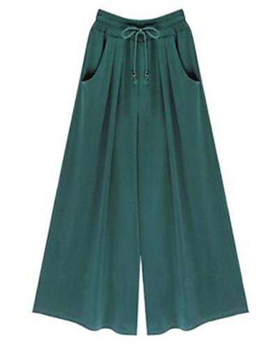 Χαμηλού Κόστους Γυναικεία Παντελόνια-Γυναικεία Κομψό στυλ street Μεγάλα Μεγέθη Φαρδιά Πλατύ Πόδι Παντελόνι - Μονόχρωμο Μαύρο Βαμβάκι Πράσινο του τριφυλλιού Μαύρο Κίτρινο XXXL XXXXL XXXXXL