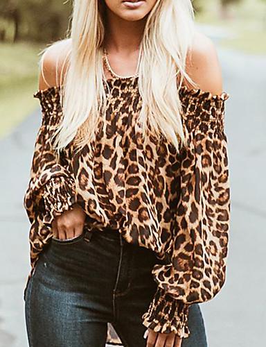 billige Dametopper-Bomull Løstsittende Løse skuldre T-skjorte Dame - Leopard, Åpen rygg Grunnleggende / Gatemote Ut på byen Brun