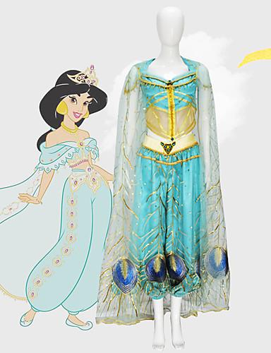 halpa Cosplay ja rooliasut-Aladdin Prinsessa Jasmine Cosplay-Asut Elokuva Cosplay Mesh Mini Me Sininen Toppi Housut Shaali Lasten päivä Masquerade Tylli / Hihaton
