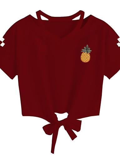 Kadın's Pamuklu Tişört Bağcık, Meyve Boho / Zarif Ananas Siyah
