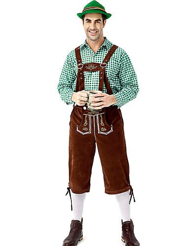 hesapli Oktoberfest-Kasım Festivali Kıyafetler Lederhosen Erkek Bluz Pantalonlar Bavyera Kostüm Kırmızı / siyah Kırmızı+Kahverengi Yeşil / Siyah