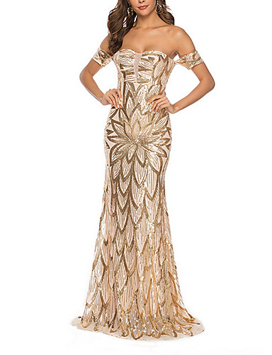 voordelige Maxi-jurken-Dames Feest Elegant Bodycon Jurk Blote rug Pailletten Schouderafhangend Maxi / Sexy