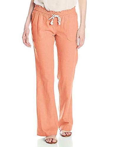 abordables Pantalons Femme-Femme Basique Mince Ample Pantalon - Couleur Pleine Classique Taille haute Coton Orange Beige Vert Véronèse M L XL