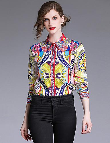povoljno Majica-Majica Žene - Vintage / Elegantno godišnjica / Formalan Galaksija Kragna košulje Print Bijela