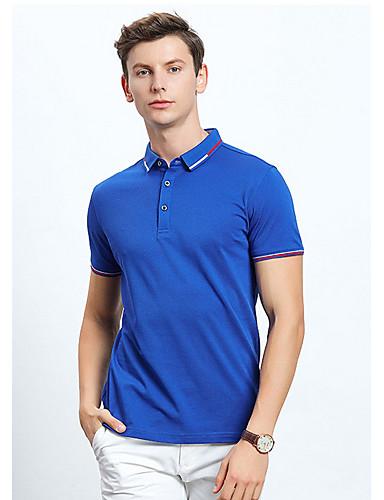 Erkek / Kadın's Gömlek Yaka Tişört Solid YAKUT / Kısa Kollu