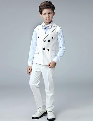 Beyaz Polyester / Pamuk Karışımı Yüzük Taşıyıcısı Takımı - 1set Kapsar Ceket / Gömlek / Pantalonlar