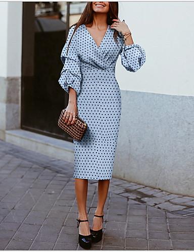 abordables Robes Femme-Femme Midi Moulante Robe Points Polka Bleu M L XL Manches 3/4