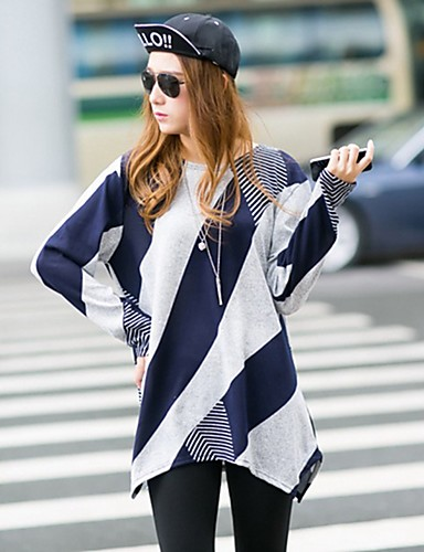 povoljno Ženske majice-Tunika Žene - Boho Ulica / Ležerno / za svaki dan Color block Kolaž / Print Blue & White / Crno-crvena / Crno i sivo Crn