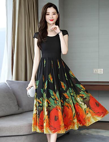 Kadın's A Şekilli Elbise - Geometrik Midi