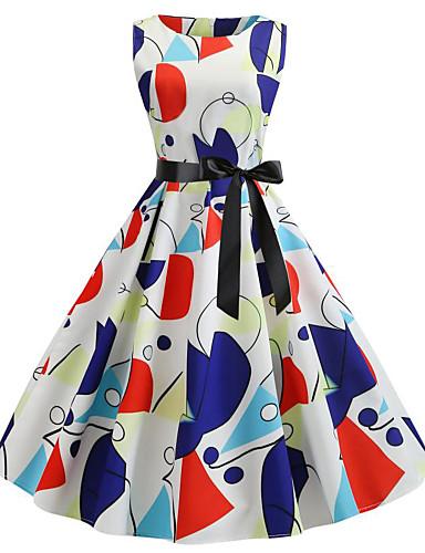 tanie W stylu vintage-Damskie Vintage Linia A Sukienka - Kwiaty Geometric Shape, Pofałdowany Do kolan