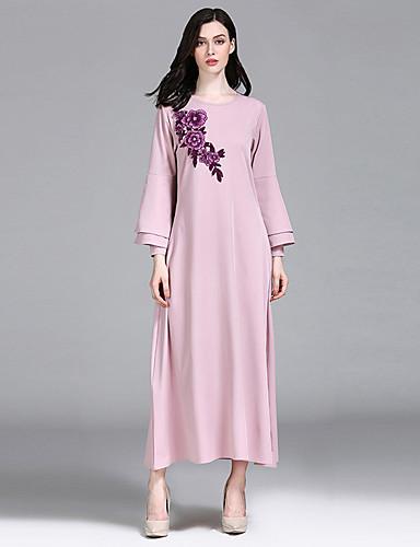 Kadın's Temel Abaya Elbise - Solid Çiçekli, Nakış Maksi