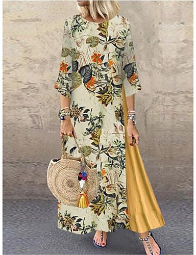hesapli Vintage Kraliçesi-Kadın's Vintage Çan Elbise - Geometrik Maksi