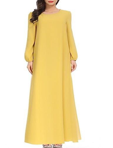 abordables Robes Femme-Femme Rétro Vintage Maxi Mousseline de Soie Abaya Robe - Lacet Cordon, Couleur Pleine Noir Vin Jaune M L Manches Longues