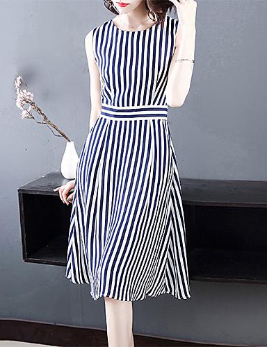 Kadın's Temel A Şekilli Elbise - Çizgili Diz-boyu