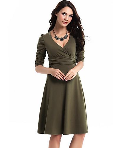 hesapli Kadın Elbiseleri-Kadın's Temel A Şekilli Elbise - Solid Diz-boyu