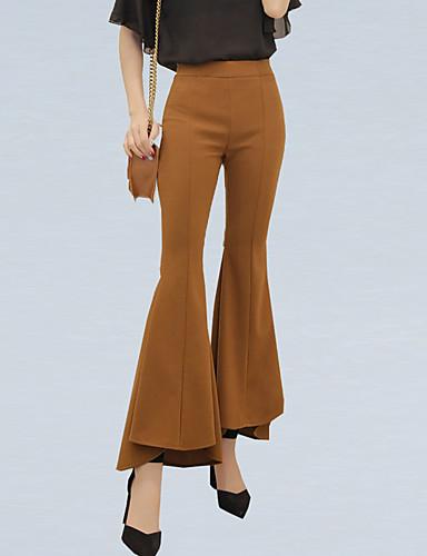 hesapli Kadın Pantolonl-Kadın's Sokak Şıklığı Flare Pantolon - Solid Siyah Yüksek Bel Siyah Haki S M L