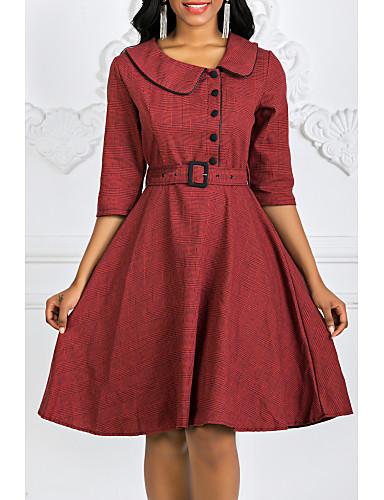 hesapli Kadın Elbiseleri-Kadın's Sokak Şıklığı Pamuklu Çan Elbise - Zıt Renkli, Kırk Yama Bebe Yaka Diz-boyu
