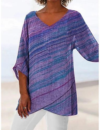 billige Dametopper-V-hals Store størrelser T-skjorte Dame - Fargeblokk Grunnleggende Lilla