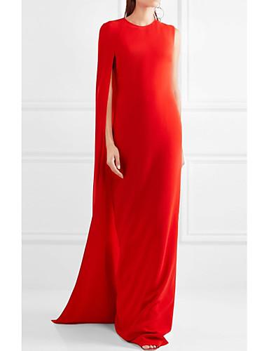 Χαμηλού Κόστους Φορέματα Διακοπών-Ίσια Γραμμή Με Κόσμημα Ουρά που ξεκινάει από τους ώμους Σιφόν Επίσημο Βραδινό Φόρεμα με με LAN TING Express