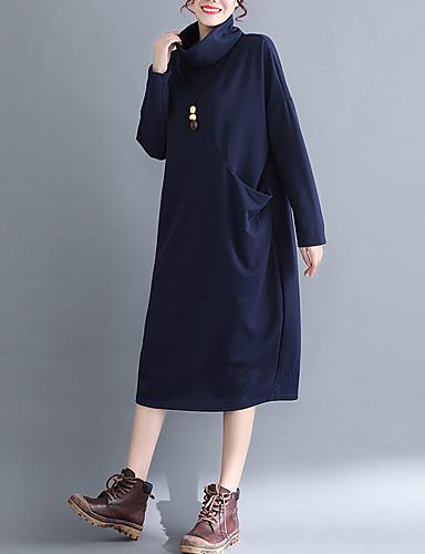 abordables Robes Femme-Femme Basique Elégant Midi Courte Robe - Mosaïque, Couleur Pleine Noir Vin Bleu Marine M L XL Manches Longues