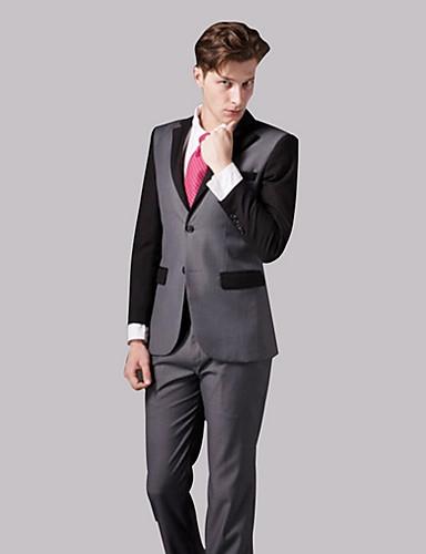 Erkek Suit Çentik Yaka Polyester Gri US36 / UK36 / EU44 / US38 / UK38 / EU46 / US40 / UK40 / EU48