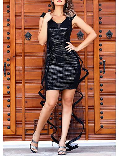 Žene Elegantno A kroj Haljina Jednobojni V izrez Iznad koljena