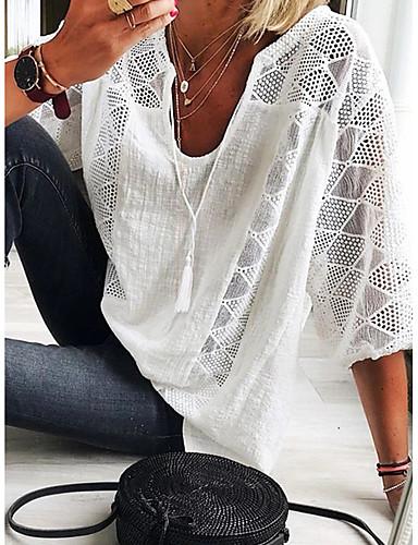 abordables Tops de Mujeres-Mujer Elegante Encaje / Ajuste de encaje Camiseta Un Color Azul claro