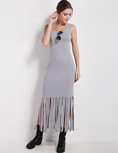 voordelige Maxi-jurken-Dames Boho Schede Jurk - Effen, Split Bontzoom Midi