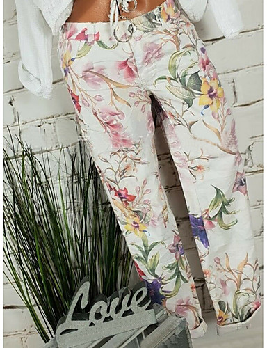 cheap Women's Pants-Women's Basic Loose Chinos Pants - Floral White XXXL XXXXL XXXXXL