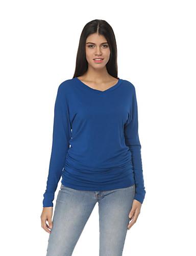 abordables Hauts pour Femmes-Tee-shirt Femme, Couleur Pleine Basique Noir