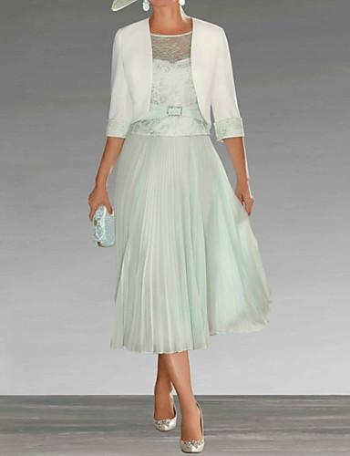 voordelige Wrap Dresses-A-lijn Met sieraad Over de knie Chiffon / Kant Bruidsmoederjurken met Sjerp / Lint / Plooien door LAN TING Express / Wrap inbegrepen