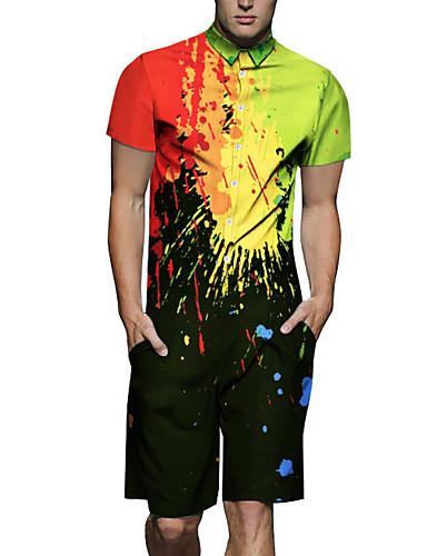 voordelige Heren T-shirts & tanktops-Heren Overhemd Pantalon Regenboog