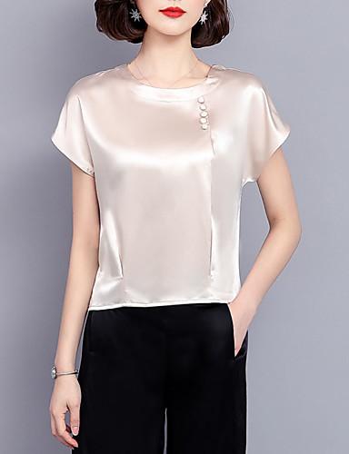 abordables Hauts pour Femmes-Tee-shirt Femme, Couleur Pleine Perlé Business / Basique Vin
