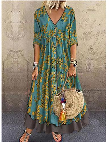 cheap Women's Dresses-Women's Elegant Maxi A Line Dress - Floral Sequins Print Deep V Red Green Gray M L XL XXL