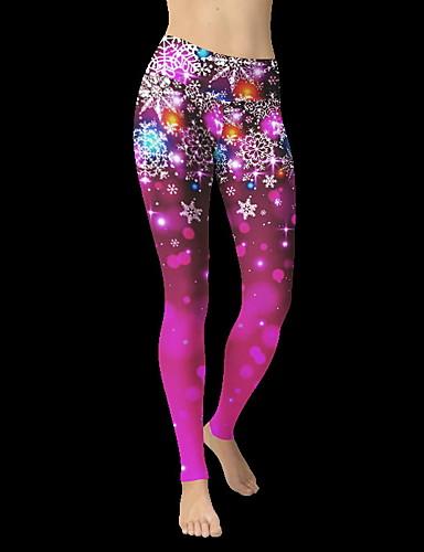 Kadın's Günlük Podstawowy Legging - Desen, Desen Yüksek Bel Doğal Pembe L XL XXL