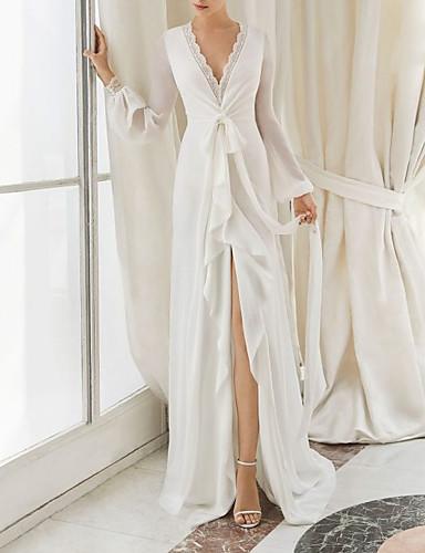 저렴한 웨딩 드레스 2019-시스 / 칼럼 V 넥 코트 트레인 쉬폰 Made-To-Measure 웨딩 드레스 와 리본 / 앞면 트임 으로 LAN TING Express