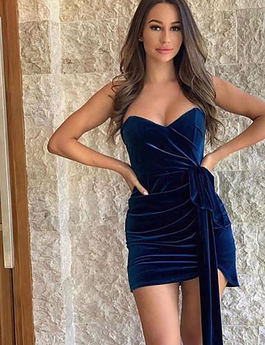 abordables Robes Femme-Femme Au dessus du genou Gaine Robe Couleur Pleine Fuchsia Bleu Marine S M L Sans Manches