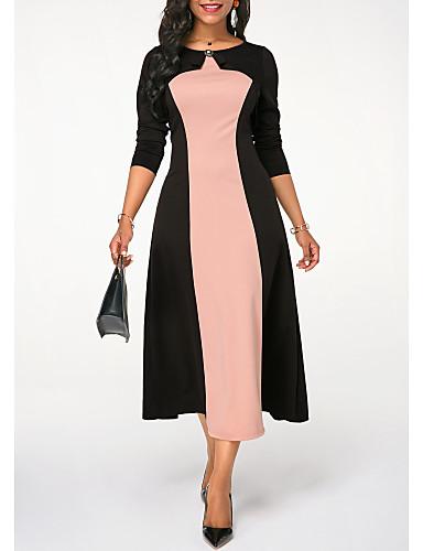 Жен. Элегантный стиль А-силуэт Платье - Однотонный, Пэчворк Средней длины