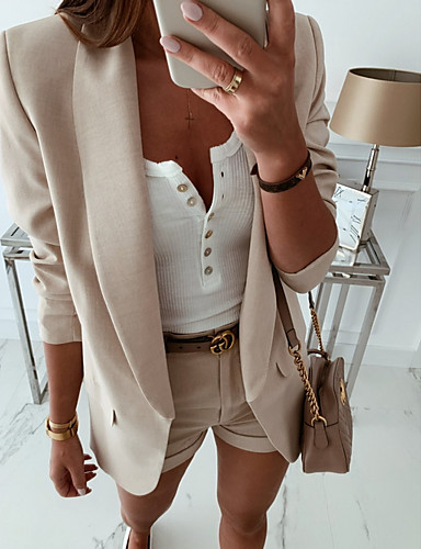 billige Ytterklær til damer-Dame Blazer, Ensfarget Rundet jakkeslag Polyester Hvit / Beige / Kakifarget