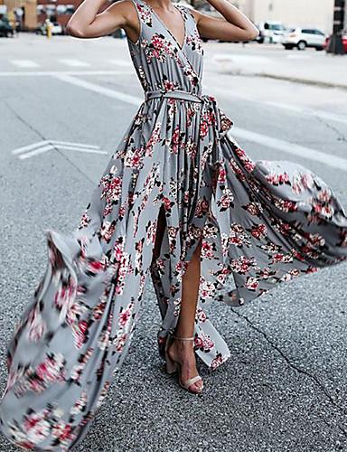 billige Kjoler-Dame Grunnleggende Skjede Swing Kjole - Ensfarget Blomstret, Delt Trykt mønster Snorer Maksi Rose