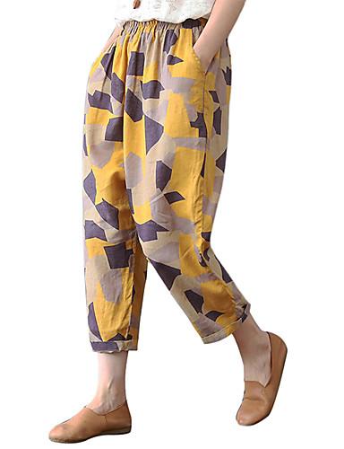 abordables Pantalons Femme-Femme Actif / Chic de Rue Ample Sarouel / Chino Pantalon - Points Polka Noir & Blanc, Pois / Fleur Blanche Jaune L XL XXL
