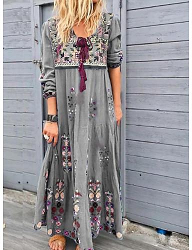 voordelige Maxi-jurken-Dames Street chic Ruimvallend Recht Jurk - Bloemen, Print Diepe V-hals Maxi
