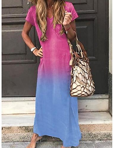 povoljno Maxi haljine-Žene Osnovni Shift Haljina - Kolaž, Color block Maxi